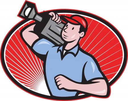 camara de cine: Ilustraci�n de una pel�cula camar�grafo tripulaci�n llevando conjunto c�mara de v�deo en el interior ovalado pel�cula hecha en estilo de dibujos animados Vectores