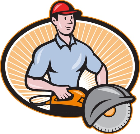 Illustration of a construction worker with concrete saw consaw done in cartoon style  Vector