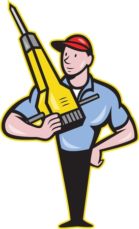 Illustration of a construction worker with jack hammer pneumatic drill done in cartoon style  Vector