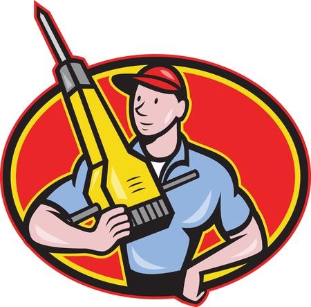 presslufthammer: Illustration eines Bauarbeiters mit Presslufthammer Presslufthammer im Cartoon-Stil getan Illustration