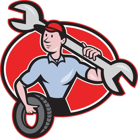 repairman: Illustration of a mechanic with tire and socket wrench standing front view set inside hexagon done in cartoon style