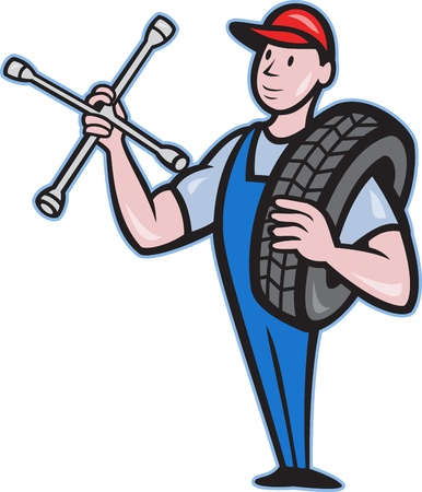 socket wrench: Illustration of a mechanic with tire socket wrench and tire standing front view isolated on white background done in cartoon style