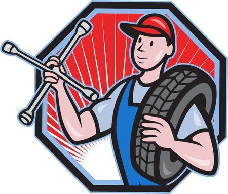 タイヤとフロント ビューが六角形の漫画のスタイルで行われる内部設定されて立っているソケット レンチ メカニックのイラスト