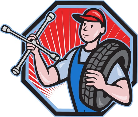 Illustration of a mechanic with tire and socket wrench standing front view set inside hexagon done in cartoon style