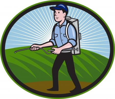 sprayer: Illustration of a worker with fertilizer sprayer pump  spraying set inside oval done in cartoon style