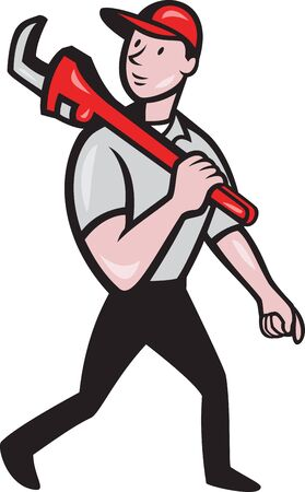 Illustration of a plumber with monkey wrench done in cartoon style on isolated background Vector
