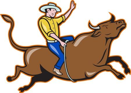 白い背景と分離バッキング牛に乗ってロデオ カウボーイのイラスト