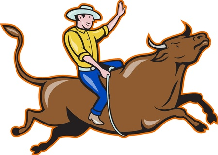 Illustration of rodeo cowboy riding bucking bull on isolated white background Illustration