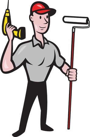drill: illustration of a House painter handyman with paint roller and holding a cordless drill isolated on white done in cartoon style
