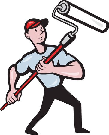 illustration of a house painter with paint roller painting isolated on white done in cartoon style Vector