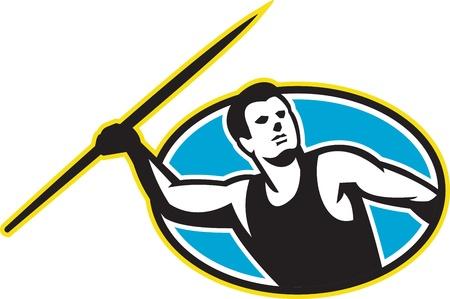 lanzamiento de jabalina: Ilustración de una jabalina atleta de pista y campo de tiro frente a frente conjunto en el interior de óvalo en el fondo aislado hecho en estilo retro.