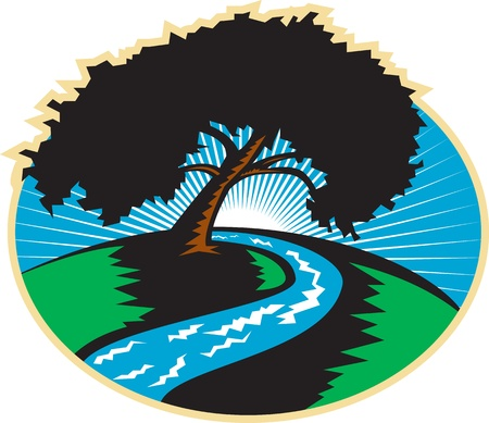 pecan: Illustration of a pecan tree silhouette with winding river stream and sunburst in background done in retro style.