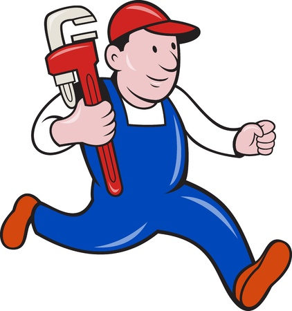 plumber tools: Illustration of a plumber with monkey wrench done in cartoon style on isolated background.