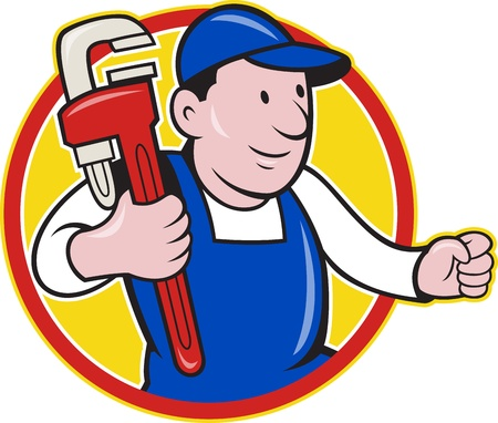 Illustration of a plumber with monkey wrench done in cartoon style on isolated background set inside circle. Vector