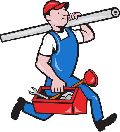 Illustration of a plumber carrying pipe and toolbox running done in cartoon style on isolated background.