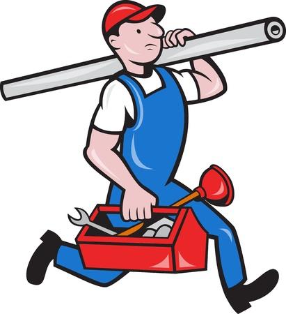 plumber with tools: Ilustraci�n de un fontanero que lleva funcionando la tuber�a y caja de herramientas hecho en estilo de la historieta en fondo aislado.