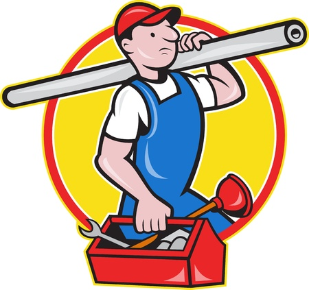 handyman cartoon: Illustration of a plumber carrying pipe and toolbox running done in cartoon style on isolated background.