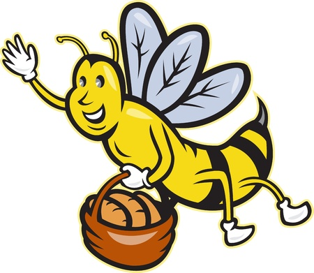 bee cartoon: Illustration of a bee waving carrying a basket full of bread loaf on isolated background done in cartoon style. Illustration