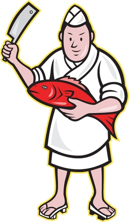 Illustration of a Japanese fishmonger butcher chef cook with knife holding red fish on isolated background. Vector
