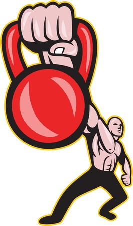 Illustration of a strongman crossfit training lifting kettlebell or girya viewed from front on isolated background.