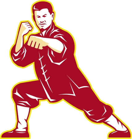 fu: Illustration of shaolin kung fu martial arts karate master in fighting stance with temple and sunburst in background set inside oval done in retro style. Illustration
