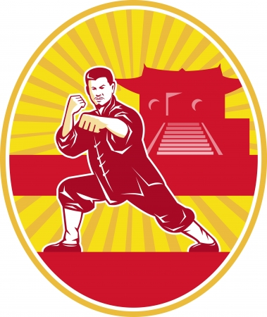 stance: Illustration of shaolin kung fu martial arts karate master in fighting stance with temple and sunburst in background set inside oval done in retro style. Illustration