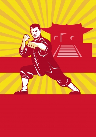 Illustration of shaolin kung fu martial arts karate master in fighting stance with temple and sunburst in background set inside oval done in retro style. Illustration