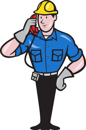 tradesman: illustration of a telephone repairman lineman worker talking on phone done in cartoon style. Illustration