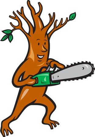 logger: Illustration of tree man arborist tree surgeon lumberjack holding chainsaw done in cartoon style. Illustration