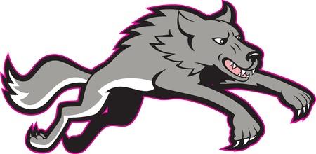 attacking: Ilustraci�n de un lobo gris que salta atacando hecho en estilo de dibujos animados.