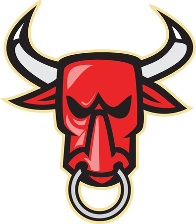 bull cartoon: Illustration of a raging angry bull head facing front on isolated white background