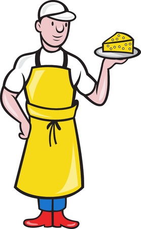 Illustration of a cheesemaker standing holding a plate with slice of cheese facing front on isolated background