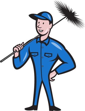 Illustratie van een schoorsteenveger schonere arbeider met bezem vegen van voren gezien gedaan in cartoon stijl Vector Illustratie