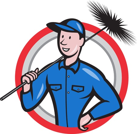 cartoon cleaner: Illustration of a chimney sweeper cleaner worker with sweep broom viewed from front set inside circle done in cartoon style  Illustration