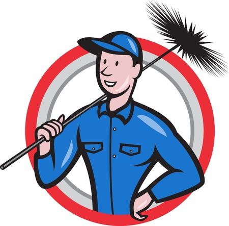 spazzatrice: Illustrazione di uno spazzacamino pulito lavoratore con spazzata scopa visto dal set anteriore interna cerchio fatto in stile cartone animato