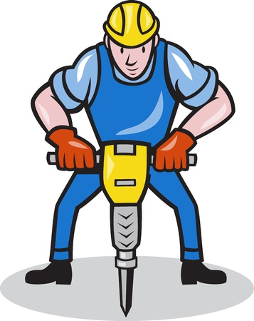 Illustration of a construction worker with jack hammer pneumatic drill done in cartoon style  Illustration