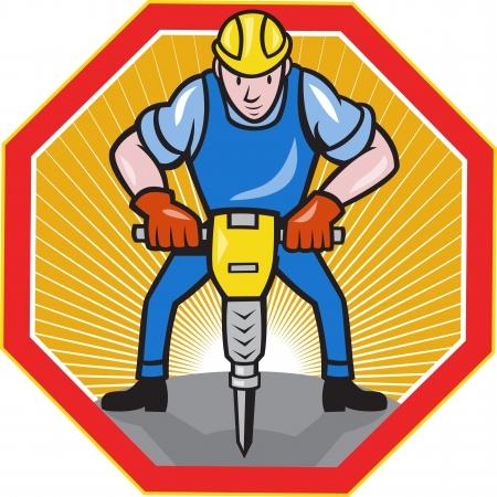 presslufthammer: Illustration eines Bauarbeiters mit Presslufthammer Presslufthammer im Cartoon-Stil getan Innensechskant gesetzt