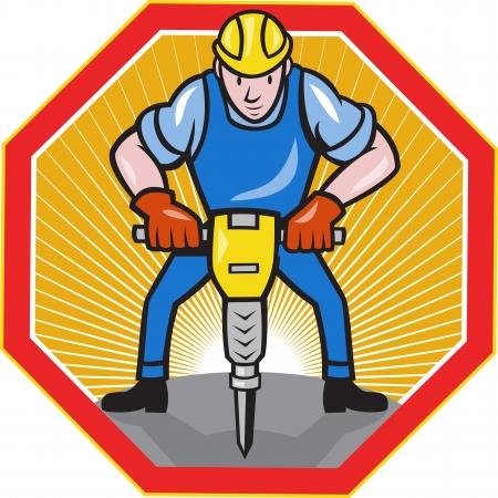 jack hammer: Illustration of a construction worker with jack hammer pneumatic drill done in cartoon style set inside hexagon