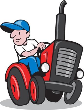 Illustratie van een boer werknemer het besturen van een ouderwetse tractor op geïsoleerde achtergrond gedaan in cartoon stijl