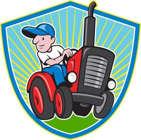 ビンテージ トラクターの運転の農民労働者のイラスト漫画のスタイルで行われる分離の背景にシールドの内部設定