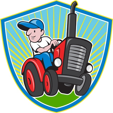 Illustration of a farmer worker driving a vintage tractor set inside shield on isolated background done in cartoon style