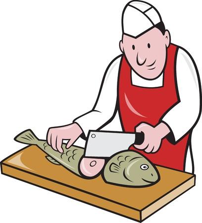 visboer: Retro-stijl illustratie van een slager visboer sushi-chef mes werknemer met vleesmes snijsteem vis naar voren gericht op geïsoleerde achtergrond