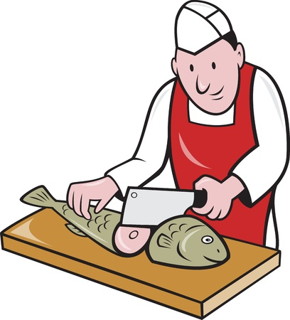 fishmonger: Retro style illustration of a butcher fishmonger sushi chef cutter worker with meat cleaver knife chopping fish facing front on isolated background