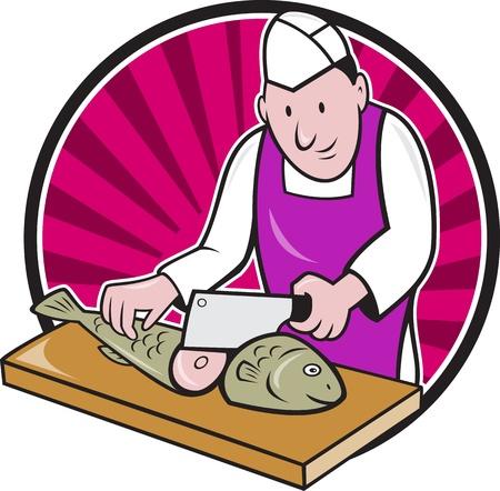 visboer: Retro-stijl illustratie van een slager visboer sushi-chef mes werknemer met vleesmes mes hakken vis naar de voorkant set binnen cirkel op achtergrond