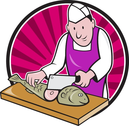fishmonger: Retro style illustration of a butcher fishmonger sushi chef cutter worker with meat cleaver knife chopping fish facing front set inside circle on isolated background  Illustration