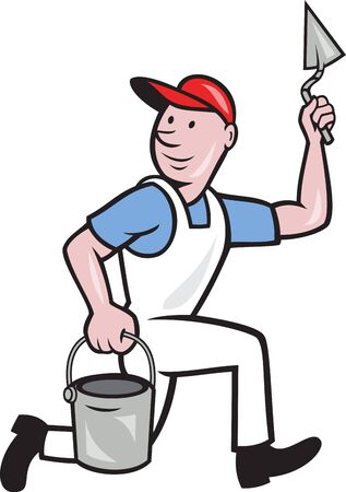 plasterer: illustration of a plasterer masonry tradesman construction worker with trowel and pail on isolated background Illustration