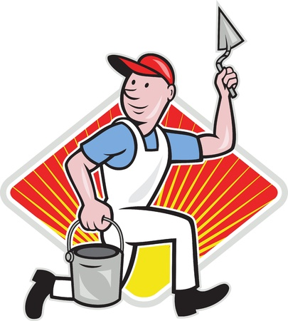 plasterer: illustration of a plasterer masonry tradesman construction worker with trowel and pail on isolated background with diamond shape