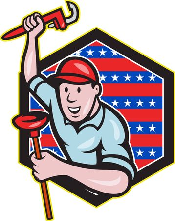 adjustable wrench: illustration of a plumber with monkey wrench done in cartoon style set inside hexagon with stars and stripes on isolated background