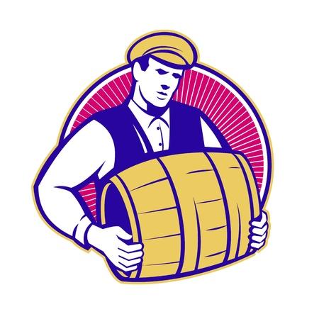 bartender: Retro style d'illustration d'un barman transportant baril baril de jeu de bi�re int�rieur du cercle sur fond blanc isol�.
