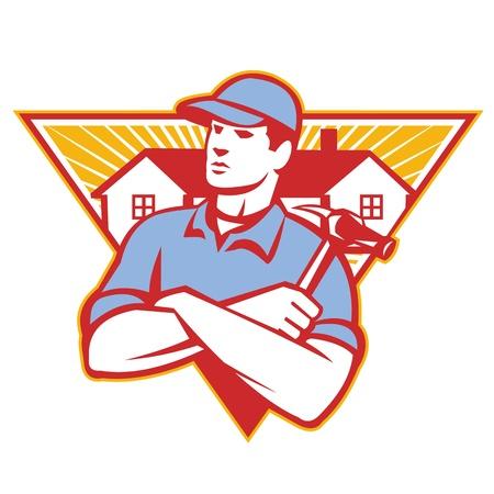 ハンマーの腕でビルダーの建設労働者のイラストはレトロなスタイルで行われる三角形の内部設定をバック グラウンドで家で渡った。  イラスト・ベクター素材